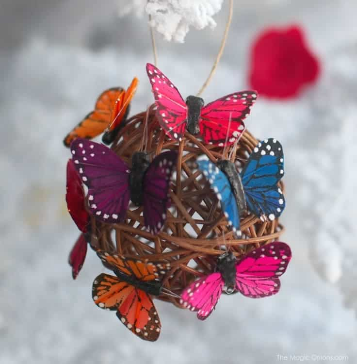 I love this butterfly ball ornament. I could use this for my bird feeder outside when the holidays are over!