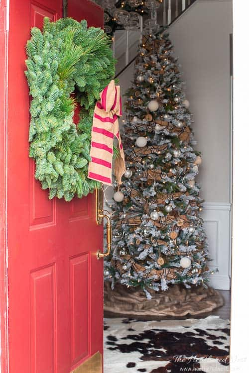 "This wreath from Lynch Creek Wreaths is called the ""bah humbug!"" Hilarious ""underwhelming"" home tour by Heathered Nest!"