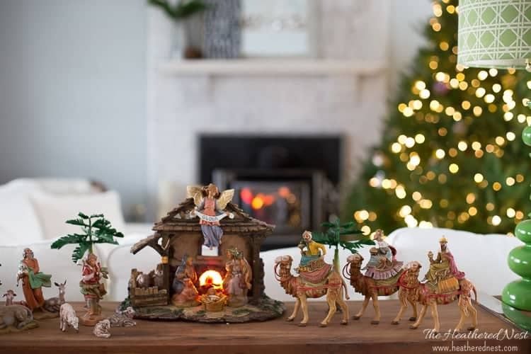 "This nativity set is gorgeous! Part of a home tour by Heathered Nest. She's calling it her ""underwhelming"" holiday home tour - but I still think this set is beautiful!"