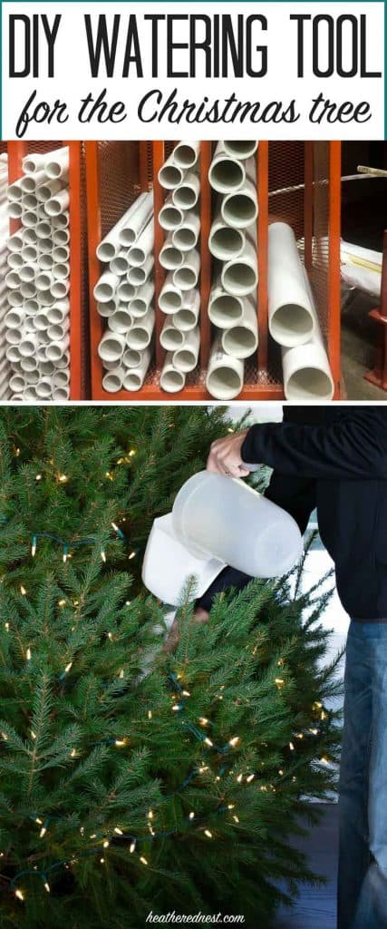 WHY DIDN'T I THINK OF THIS?! Easy DIY tool prevents breaking your back to water the Christmas tree! Best holiday DIY ever!! from heatherednest.com