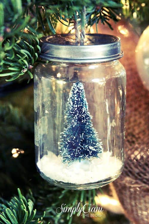 This ornament looks like a snow globe and I love the use of the jar!