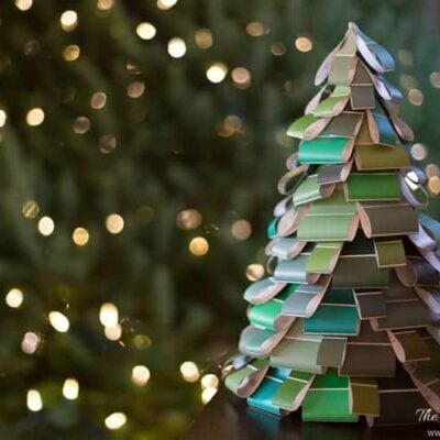 completed paint swatch tabletop Christmas tree craft