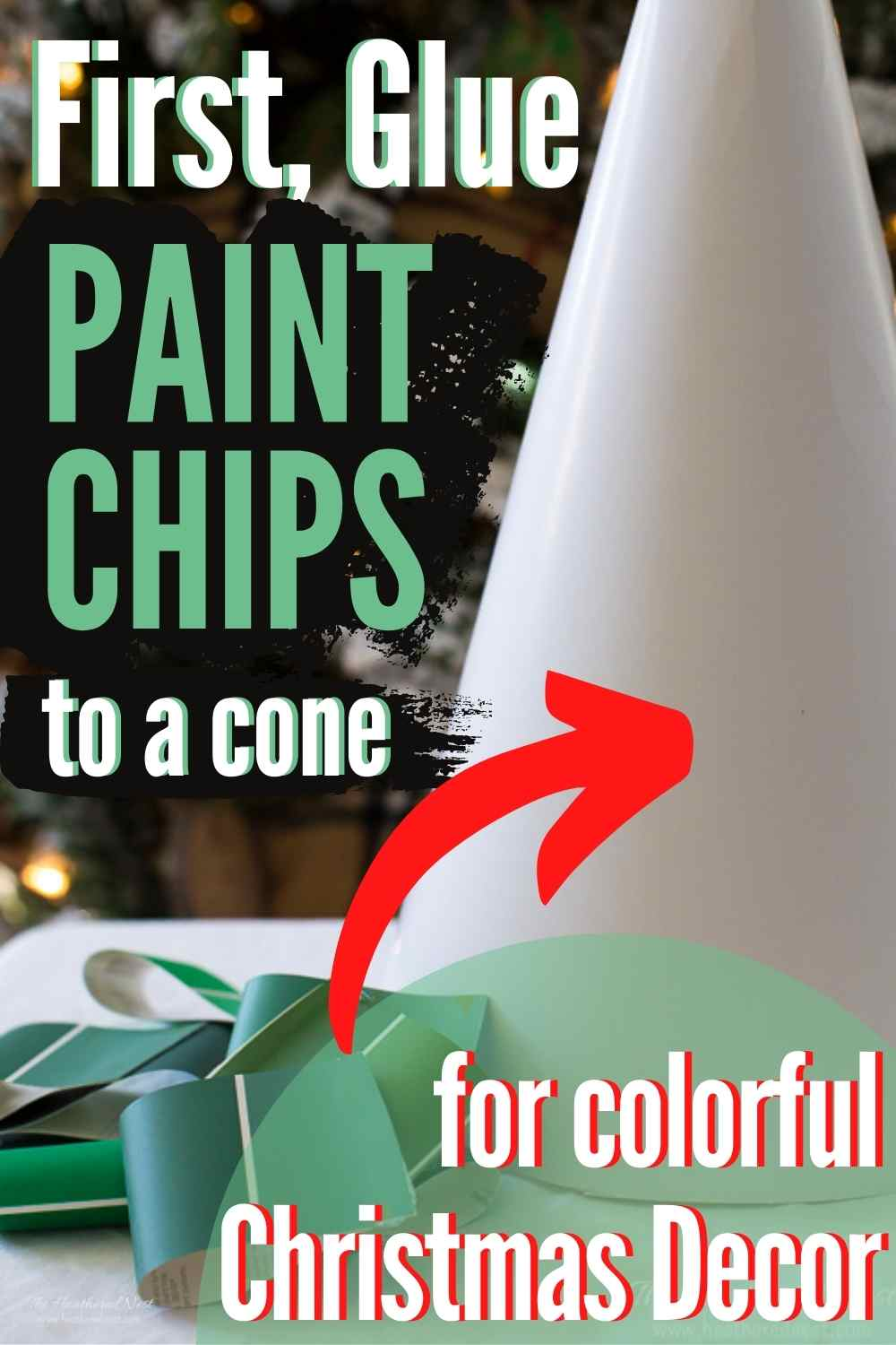Make a DIY tabletop Christmas tree from paint chips!