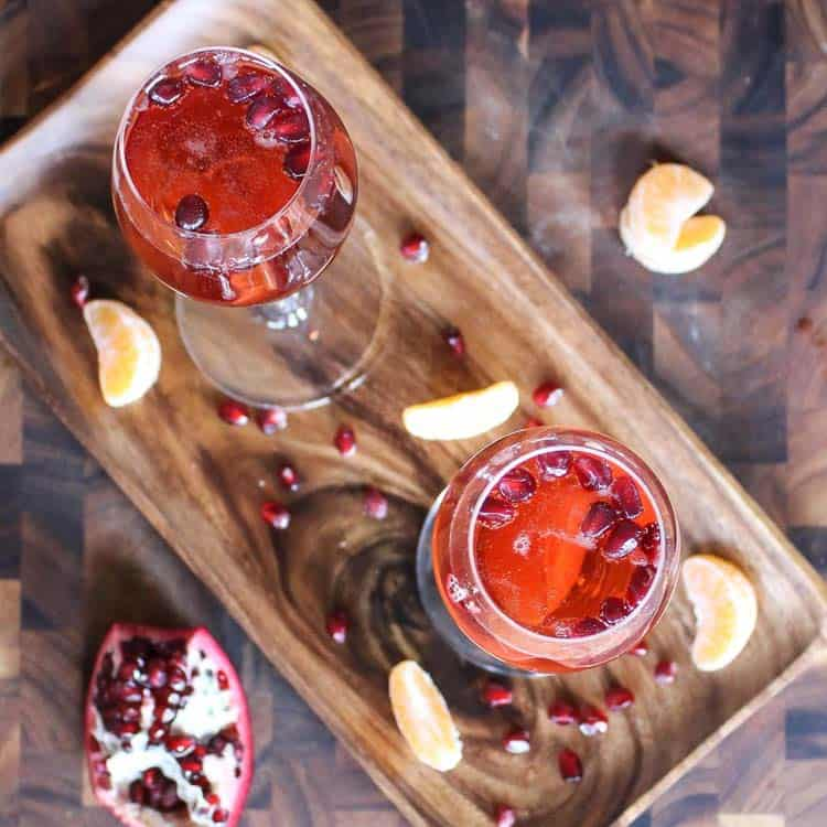 This pomegranate clementine champaign cocktail could be considered a healthy NYE drink!