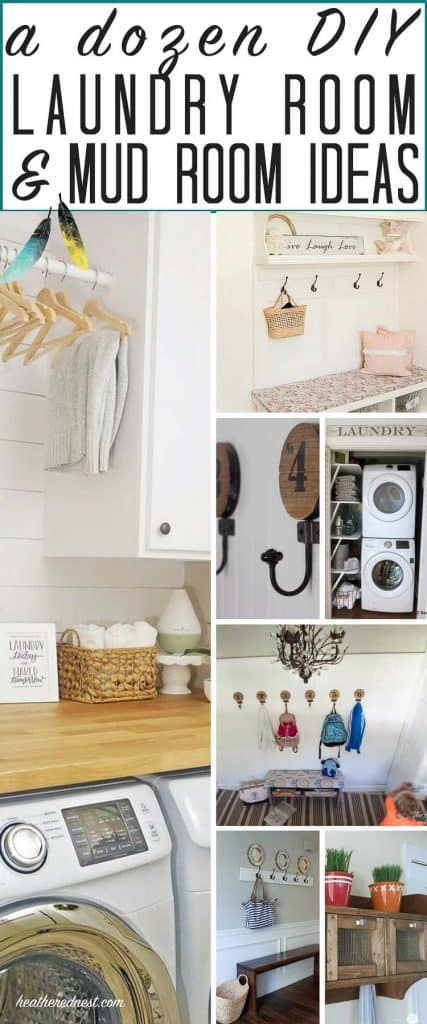 12 DIY laundry room, DIY mudroom and DIY foyer ideas! Got the itch to organize? This post has some great ideas to tidy up those spaces! from heatherednest.com