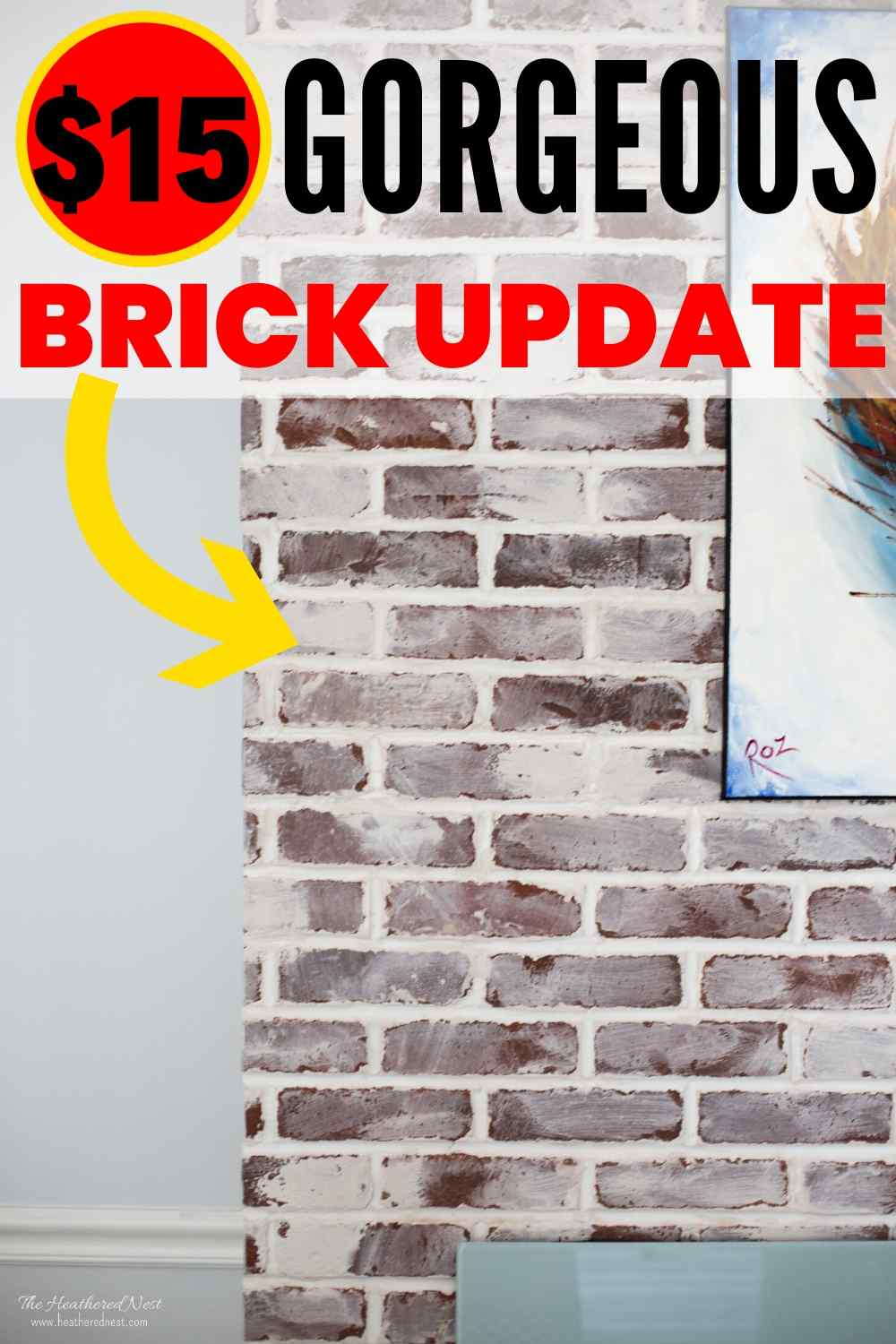 Update Your Brick Fireplace for $15! Here's how!