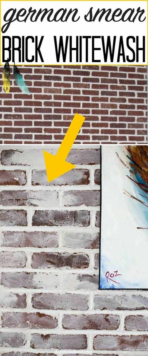 DIY german smear tutorial | brick mortar wash how to: THIS DOESN'T SOUND TOO HARD! Love the look for whitewash brick!! Lovely idea for a brick fireplace. from heatherednest.com #germansmear #mortarwash #whitewashing #updatebrick #brickupdate #howtoupdatebrick #howtowhitewashbrick #howtomortarwashbrick #howtogermansmearbrick