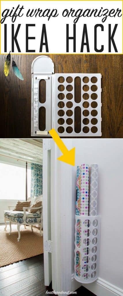 5 Minute Gift Wrap Organizer Ikea Hack The Heathered Nest