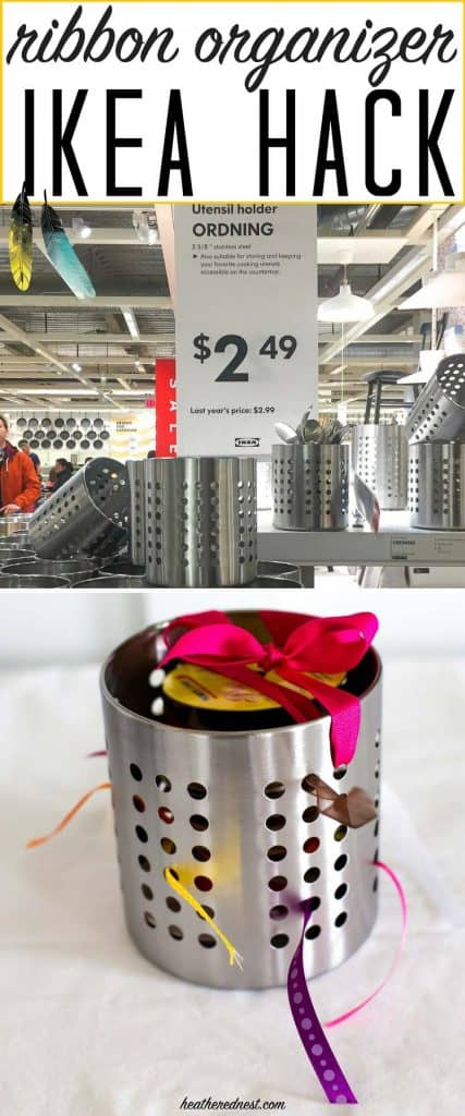 BRILLIANT! And so inexpensive. This popular Ikea hack turns an Ordning utensil holder into a DIY ribbon organizer. from heatherednest.com