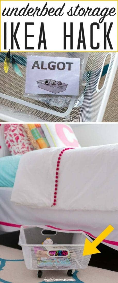 PERFECT SOLUTION! A 5-minute popular Ikea hack using a $5 Algot mesh basket to make DIY rolling underbed storage. This is SUCH A GREAT IDEA!! And NO TOOLS! I love this easy DIY organization idea!! from heatherednest.com #Ikea #Algot #Ikeahack #Ikeahacks #easyhomehack #whydidntithinkofthat #organizinghack #storagehack #easystorageideas #easystorage #DIYstorage #storageideas #underbedstorage #rollingstorage #algotikeahack #ikeastoragehack DIYrollingstorage #DIYunderbedstorage