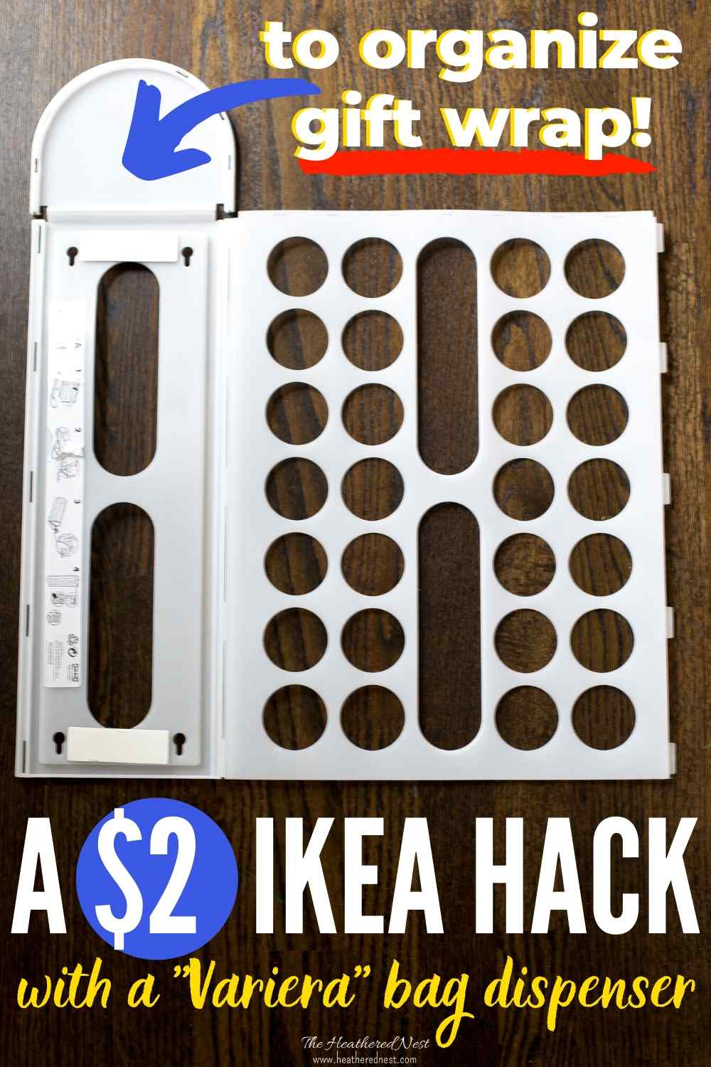 Make this easy wrap organizer in less than 5 minutes, for $2! Cool IKEA hack using a Variera plastic bag dispenser!