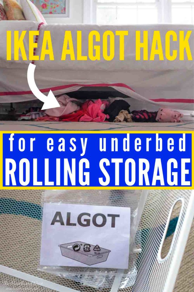 This EASY Storage IKEA hack takes 5-10 minutes, no tools required. Grab a $5 ALGOT mesh bin to make some DIY rolling under bed storage. An easy organizing idea that will give you valuable, usable storage space under your bed.
