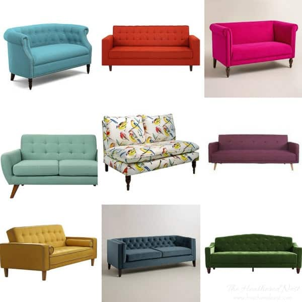 30+ affordable sofas and colorful couches, loveseats and settees, each under $550!!