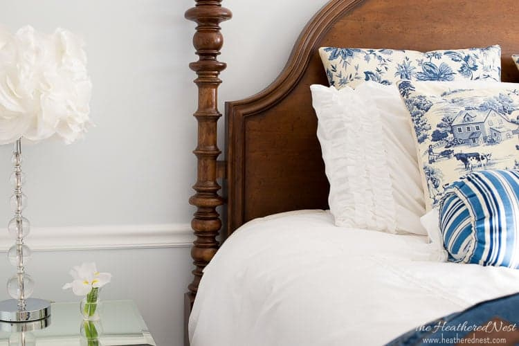 a calming country bedroom makeover from heatherednest.com. love this fresh take on farmhouse style, full of color!!