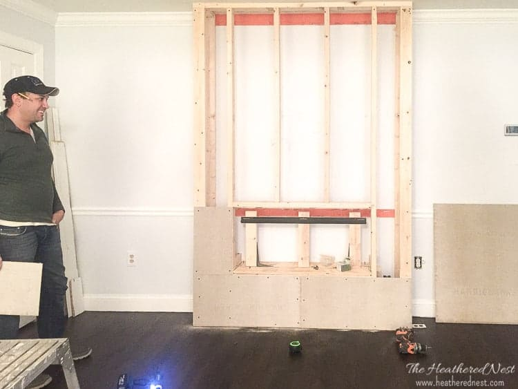 DIY fireplace construction for wall mount electric fireplace by Belham Living