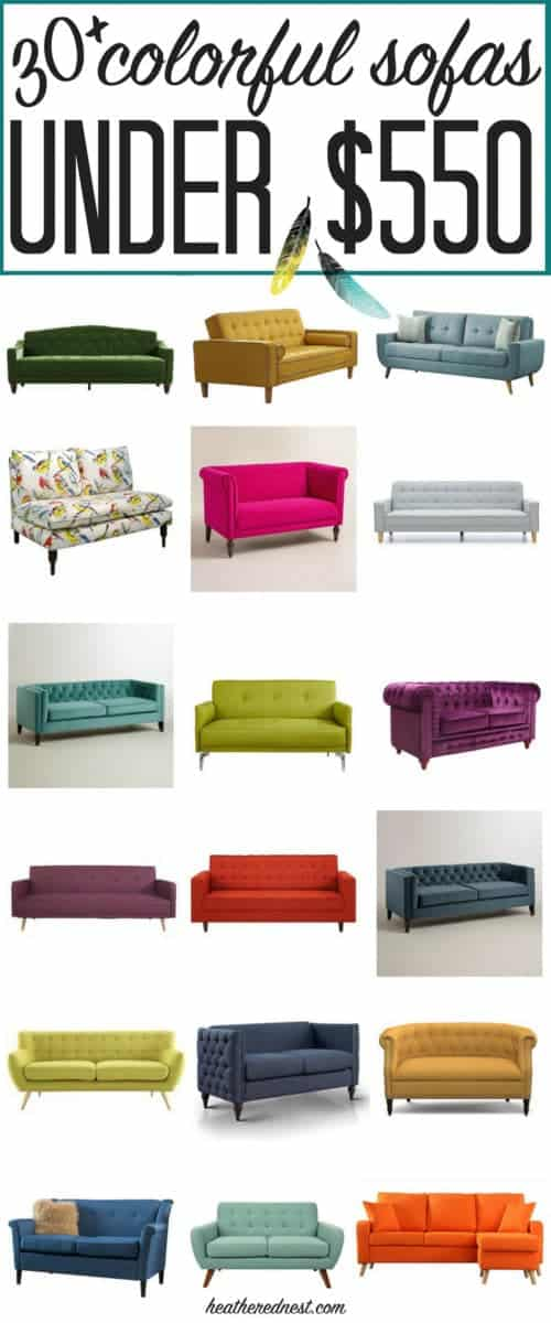 30+ affordable sofas, ALL under $550 each! AMAZING! If you've been searching for a cheap, colorful couch, you've got to save! Want a purple sofa, green sofa, yellow sofa or maybe a teal sofa? ALL of them are here!! #colorfulsofas #affordablesofas #affordablecouches #colorfulcouches