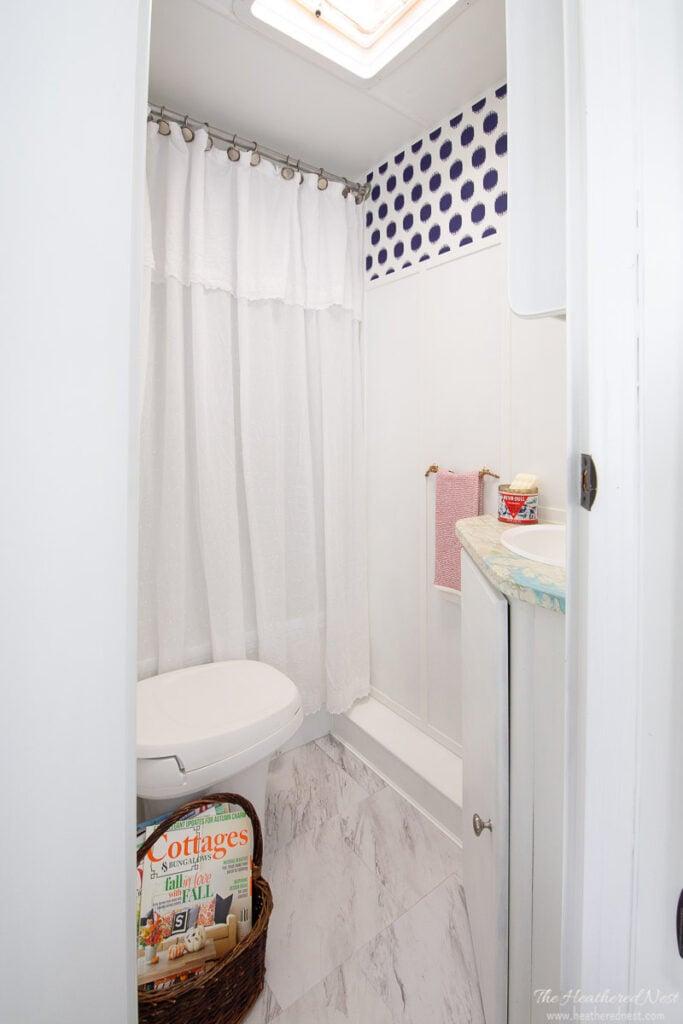 AFTER DIY bathroom renovation in a travel trailer!