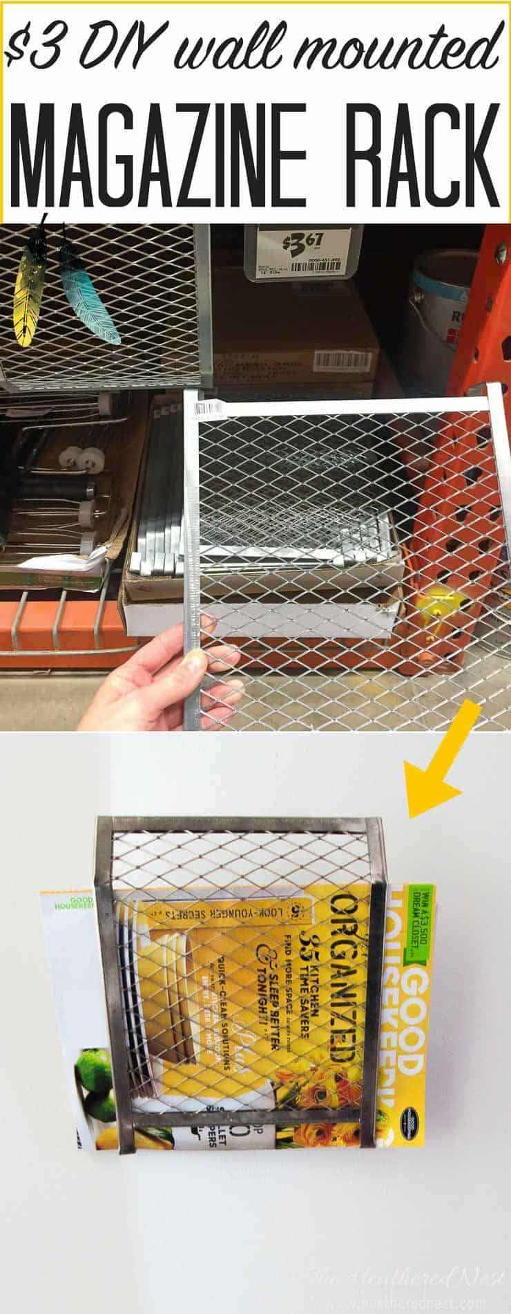 BRILLIANT! Doing this over the weekend! A DIY wall mounted magazine rack made from a $3 paint grid! Very industrial chic, popular home hack. Love this!!!