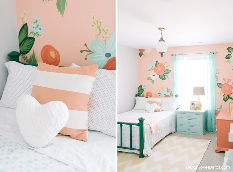 OMG this wallpaper! Love this list of girls room ideas from heathered nest. I think this is my favorite - the colors are perfect!
