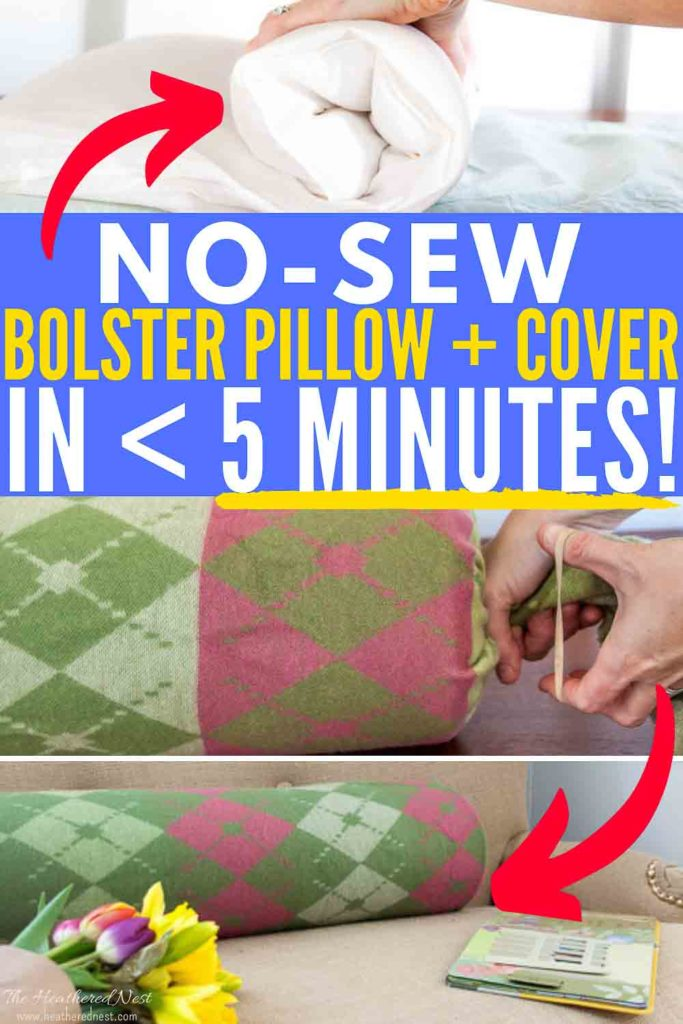 DON'T BUY! DIY a bolster pillow PLUS a cover in under 5-minutes, made with items you ALREADY own!