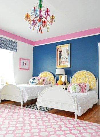 Love this girls room idea - especially all the different patters and the bold colors!