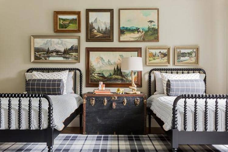 Teddy has some classic taste! I love the trunk. From Sabbe Interior Design on Heathered Nest's roundup of boys room ideas.
