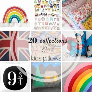 THESE ARE AWESOME!! 20 collections of kids room pillows!! Awesome inspiration to start planning kids room decor! Over 100 pillows and sources from www.heatherednest.com