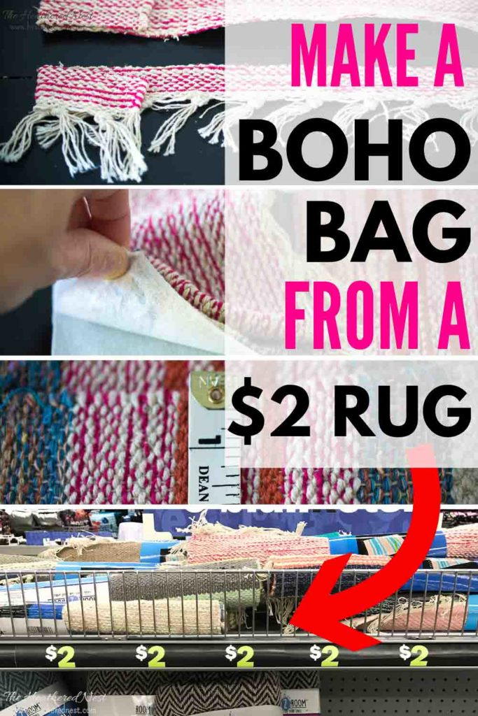 Turn a $2 discount store rug into an adorable DIY boho bag! Make one with this tutorial!