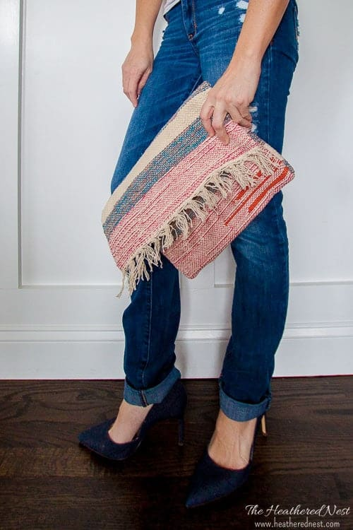 Diy Clutch Carpet Bag From A 2 Rug The Heathered Nest