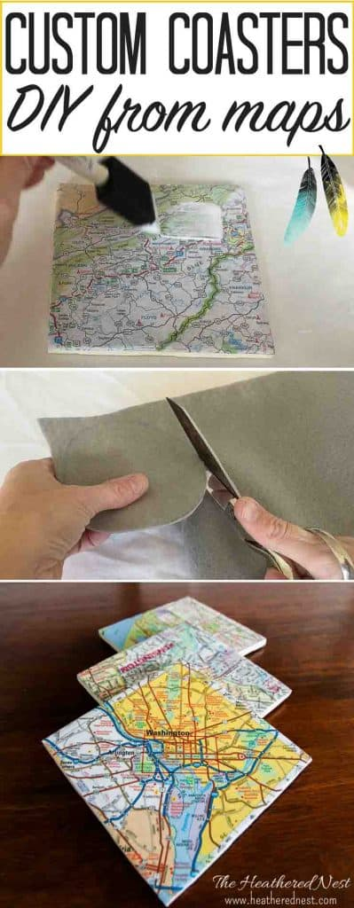 SUPER easy & inexpensive DIY custom coasters from maps! Give them as a popular & meaningful hostess gift, housewarming gift, birthday or holiday gift! They are ALWAYS a hit! Easy to follow tutorial #DIYcoasters #coasters #DIYcoasterideas #map #mapprojects #mapupcycleproject #mapupcycleprojects #mapcoasters #modgepodgecrafts #housewarminggiftideas #goingawaypresentideas #heatherednest #movinggiftideas #housewarmingpresent #goingawaygift #DIYcoasterseasy #DIYcoasterstile
