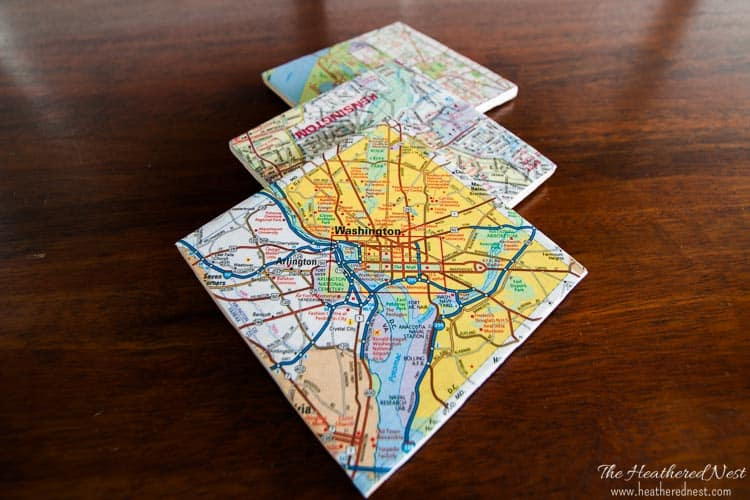 Make these SUPER easy and inexpensive DIY custom coasters from maps! And give them as a popular and meaningful hostess gift, housewarming gift, birthday or holiday gift! They are ALWAYS a hit! Easy to follow tutorial from heatherednest.com