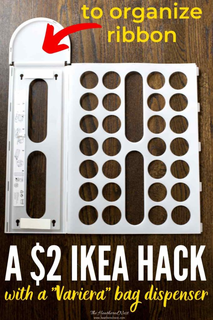 Turn a $2 IKEA Variera plastic bag dispenser into awesome craft ribbon storage in seconds!