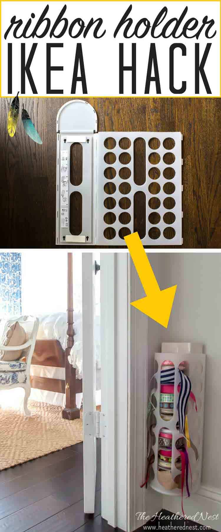 DIY ribbon holder Ikea hack! Easy, quick & made in minutes from an inexpensive $2 Ikea Variera bag dispenser! from heatherednest.com