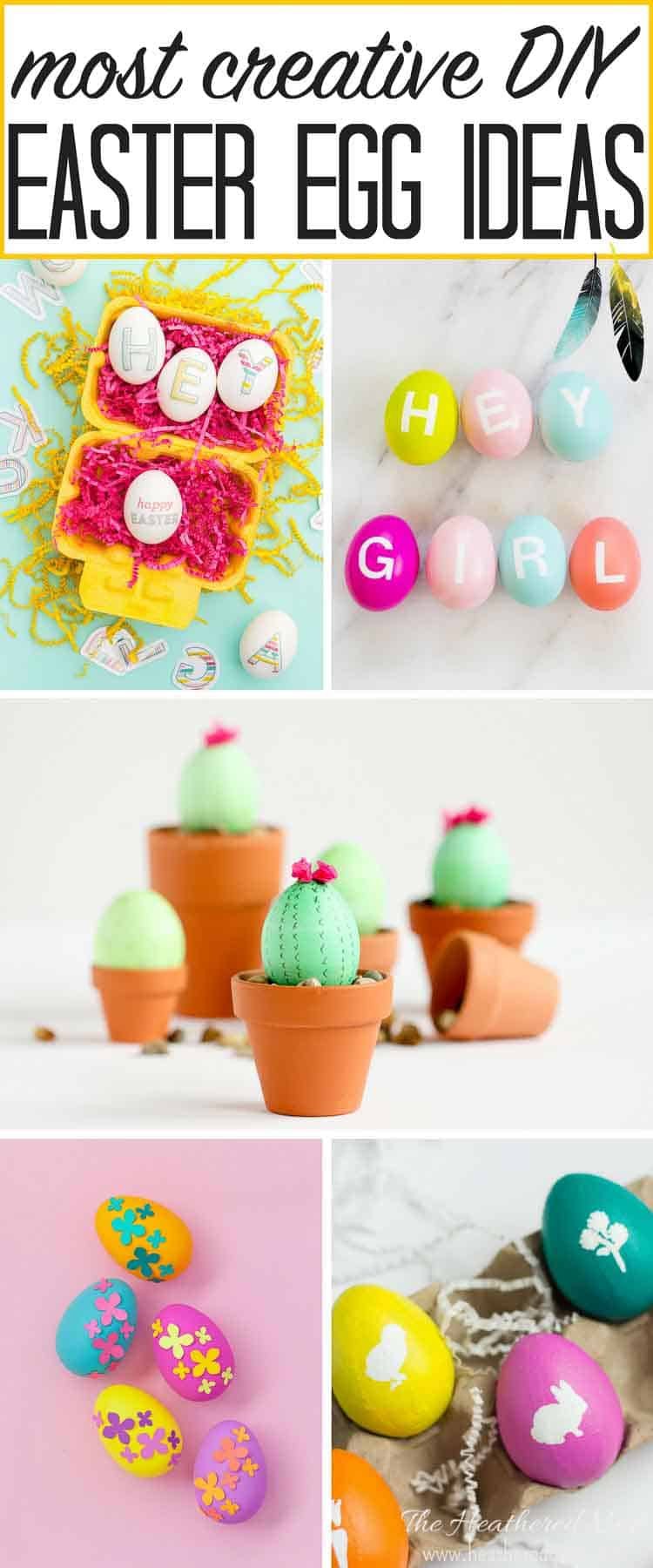 We've collected the most creative DIY Easter egg ideas on the net! I LOVE so many of these Easter egg craft ideas! Can't wait to try the photo transfer ones :)