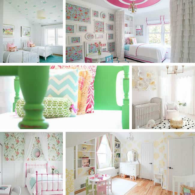 So many great girls room ideas from Heathered Nest! I love the pink ceiling!