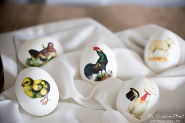 LOVING these Easter egg decorating ideas!! Tutorial shows how to make temporary tattoos from vintage spring images! These Easter eggs are completely adorable!! from heatherednest.com