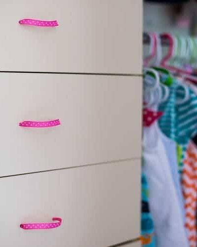 DIY ribbon drawer pulls