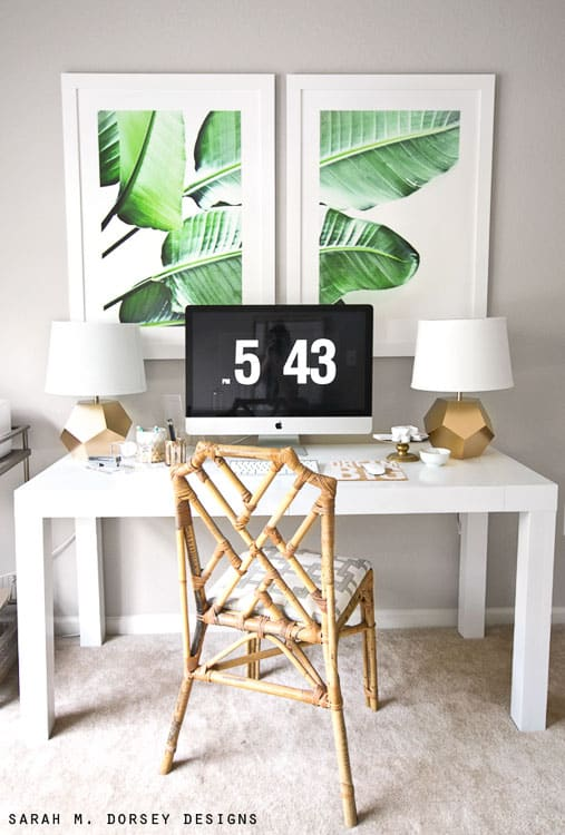 These green leaf prints are super cute. Perfect for a home office!