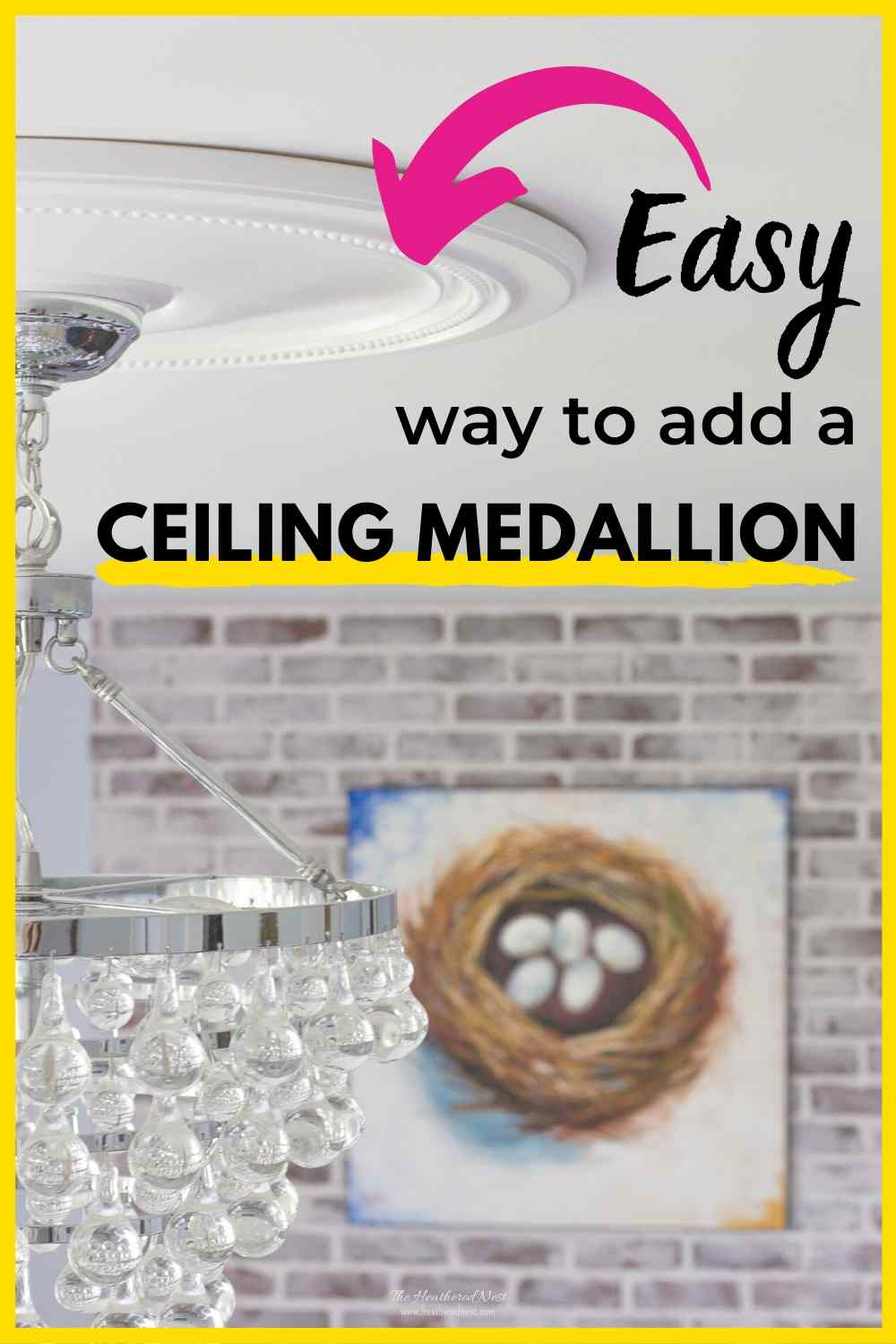 """easy way to add a ceiling medallion"" with close-up of white ceiling medallion on ceiling around crystal teardrop chandelier with"