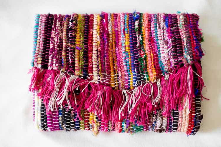DIY fringe purse from a rag rug