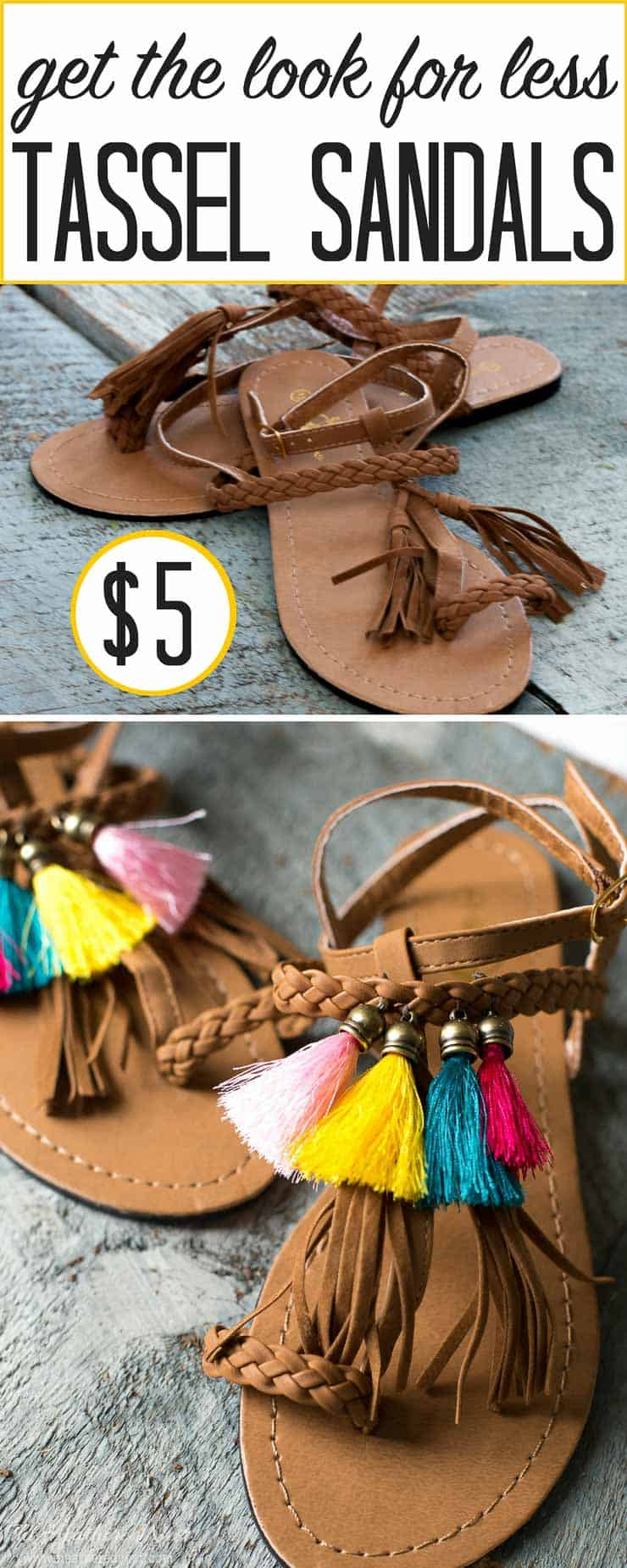 I ADORE THIS IDEA!!! Add fringe to some sandals for your own DIY tassel sandals! She made these for $6!! And I've seen these for hundreds!!!! LOVE this summer fringe sandal idea from heatherednest.com