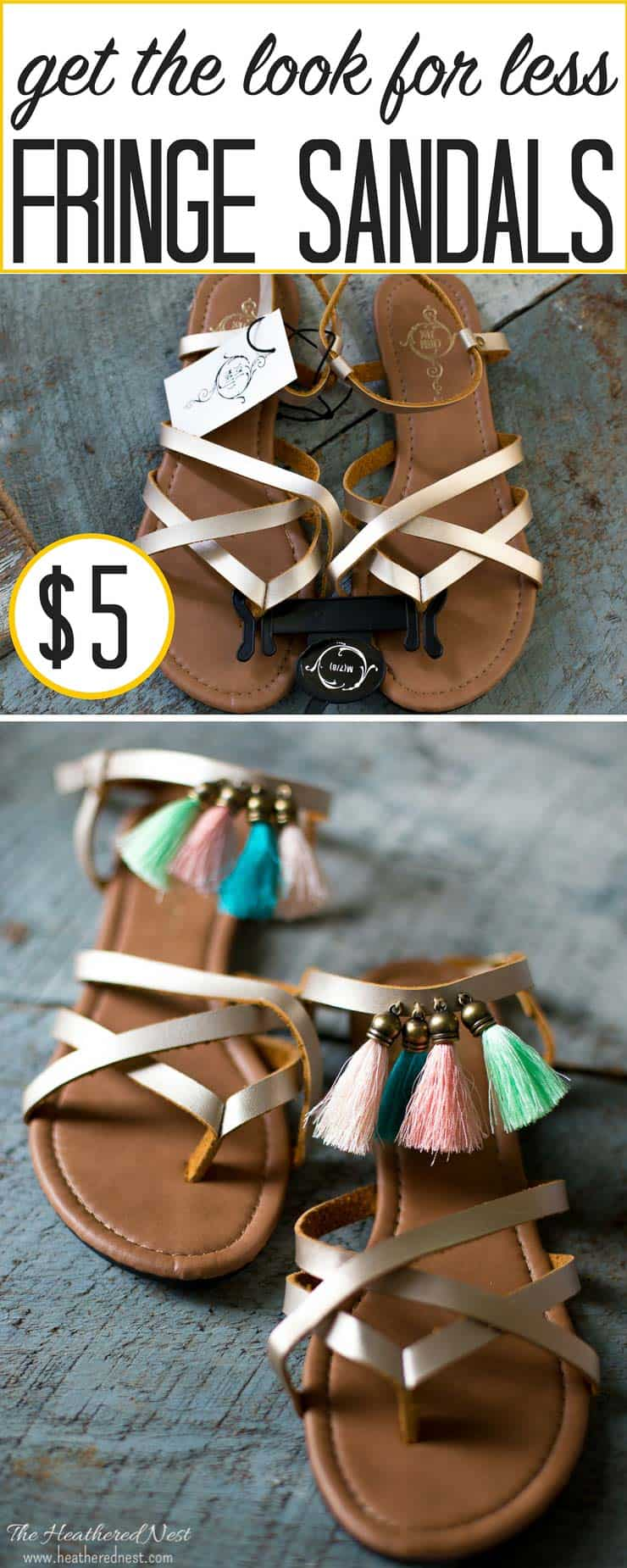 An easy way to make some $5 sandals special! Add some fringe! Here's how it's done