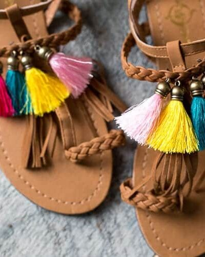 DIY tassel sandals. Get the look for less.