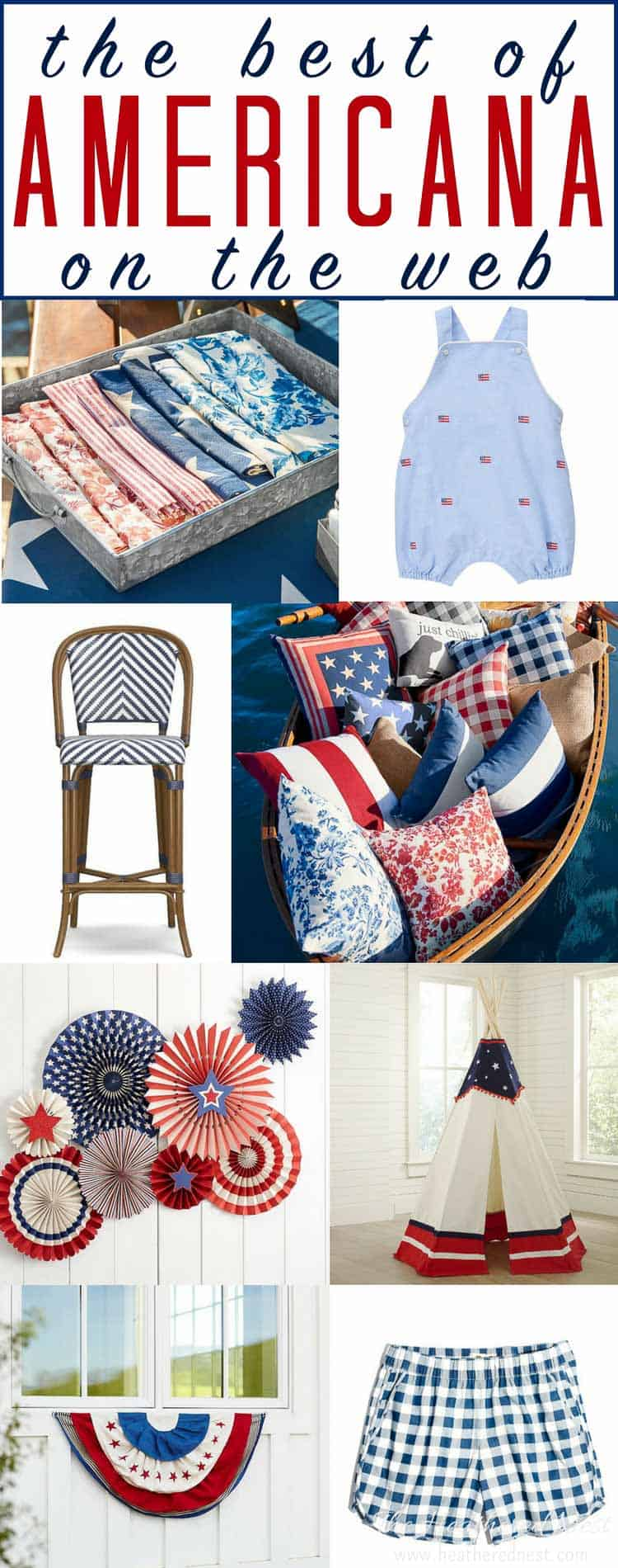 Oh say, can you see all the red, white and blue? A classically popular color combo. Here's the BEST patriotic decor and patriotic clothing on the internet!