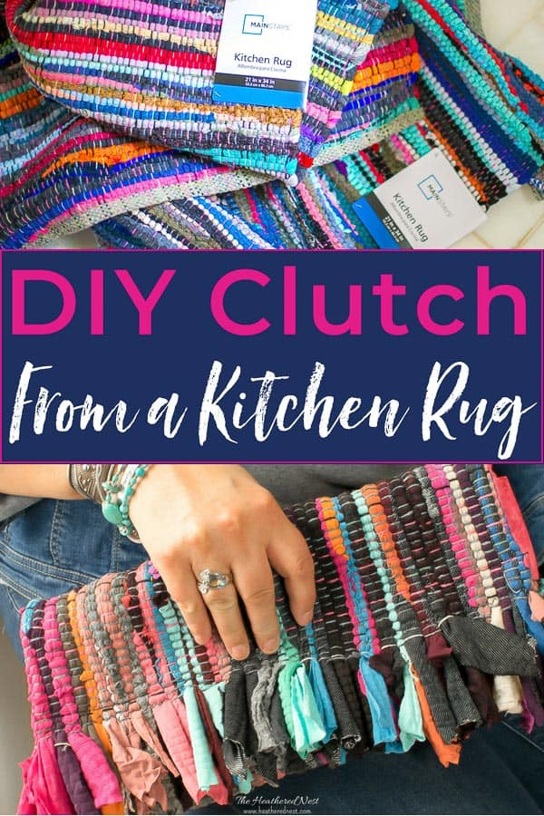 How to make a DIY purse from a kitchen rug!!! This adorable DIY clutch can be made from an inexpensive rag rug! #DIYclutch #DIYpurse #howtomakeapurse #howtomakeahandbag #ragrug #DIYfashion