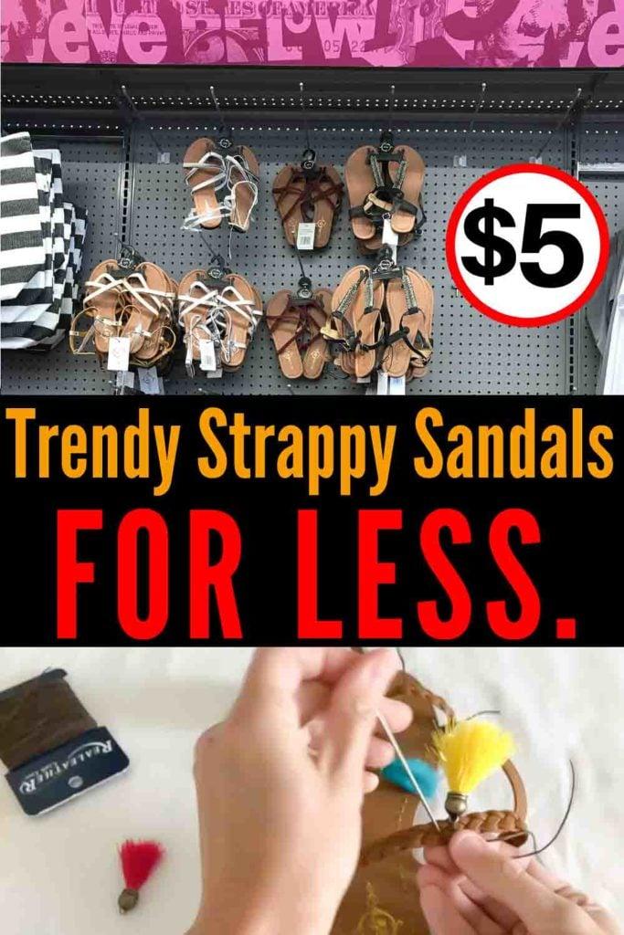 Trendy Summer Sandals For Less! #summersandals #summersandalstrends #strappysandals #tasselsandals #fringesandals #DIYsandals #DIYflipflops #flipflops #sandals