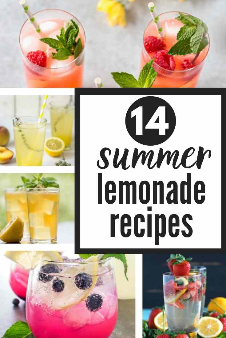 14 completely refreshing, (and also gorgeous) FRESH LEMONADE RECIPES just in time for summer!!! Loving these popular summer drinks like strawberry lemonade as well as some of the more unique varieties! There's a homemade lemonade recipe for everyone!