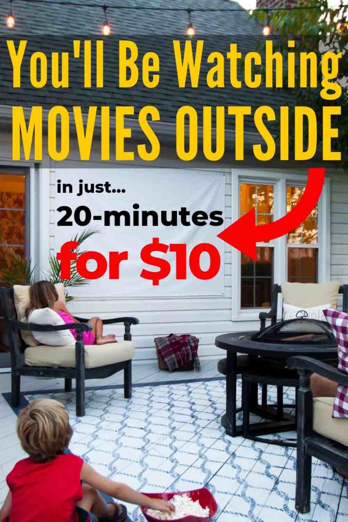 Now Is The Time To Make This Easy DIY 🍿Outdoor Movie Screen 🎬! It Costs Just Around $10 And You Can Be Done In About 20-Minutes! What's Not To ❤️?! #MovieScreenDIY #MovieScreenOutdoor