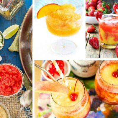 9 frozen drinks with alcohol on a grid