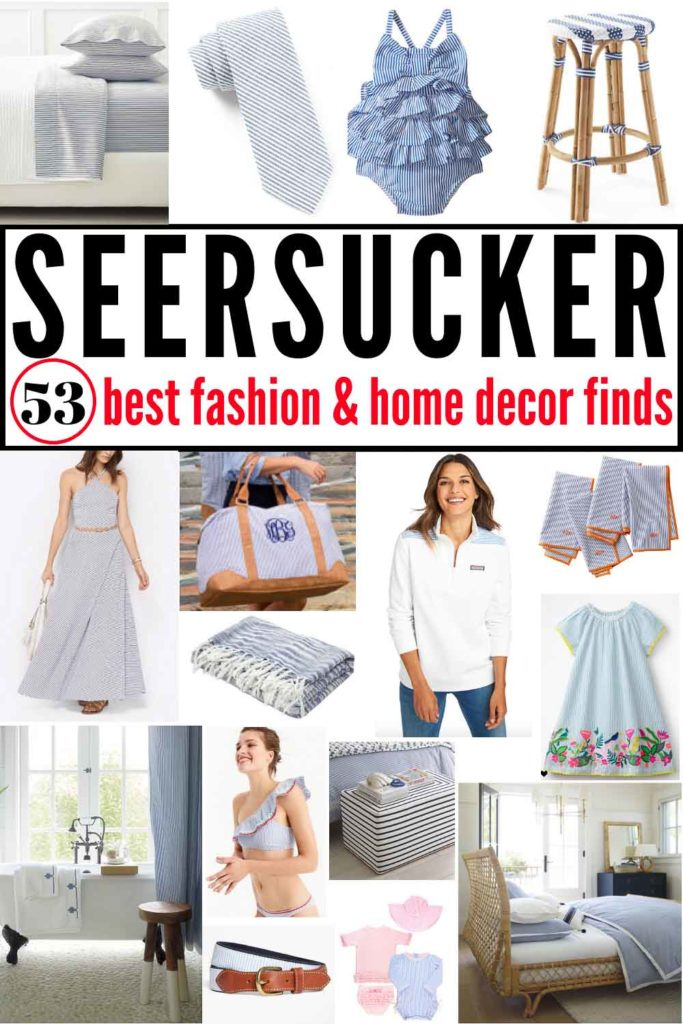 53 BEST Seersucker fashion and home decor finds! If you 💙blue ticking, you'll love these products! #seersucker #ticking #blueticking #blueandwhitestripe #seersuckerdress #seersuckerbedding #seersuckersandals #seersuckertie #seersuckerbathingsuit #seersuckerbelt #seersuckerbag #bluetickingproducts #seersuckerpants #seersuckerduvet #seersuckerbaby #seersuckerpattern #seersuckersuit #seersuckermens #seersuckerwomen #seersuckerdecor #seersuckerjumpsuit